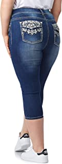 WallFlower Women's Plus Size Bling Luscious Curvy Capri Crop