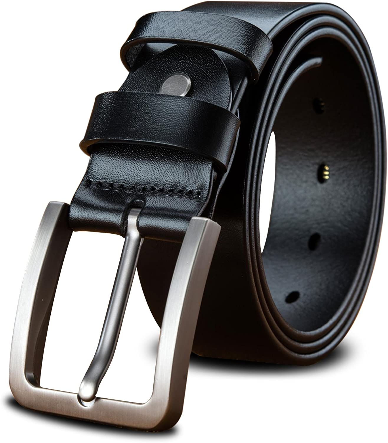 LUCIANO Upscale Genuine Leather Italy Cowhide Black & Brown Belt Men's Dress Belts
