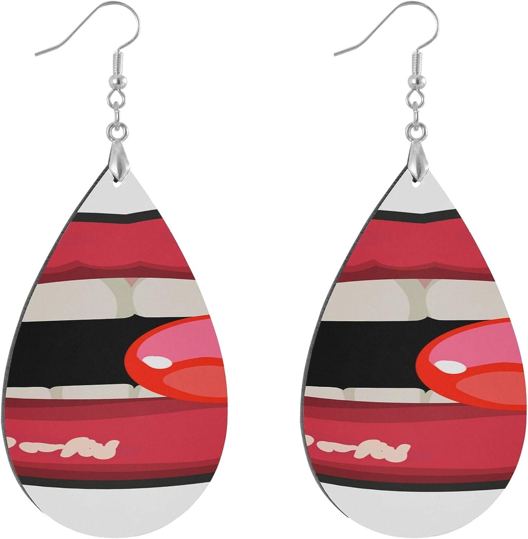 AQQA Female Lips Licking Lollipop Girl Wood Earrings Fashion Painted Dangle Geometric Personalized Earings Set for Women Water Drop/Leaf Fashion Drop Earrings for Women Lady Girls