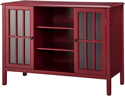 Beau Windham 2 Door Cabinet With Center Shelves Red