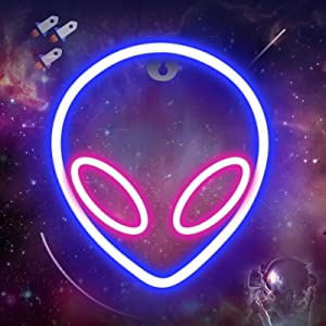 Alien Neon Sign for Wall Decor - Battery/USB Operated Alien Neon Night Lights LED Neon Signs Light up for Bedroom, Kids Room, Bar, Festival, Birthday, Christmas, Wedding Party (Blue & Pink)
