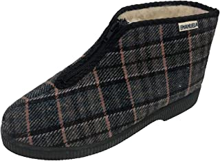 EMANUELA 566 Pantofola Uomo Cerniera Alta Scozzese
