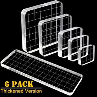 WeiMeet 6 Pieces Thicker Stamp Blocks Acrylic Clear Stamping Blocks Tools with Grid Lines for Scrapbooking Crafts Making(Thickened Version)