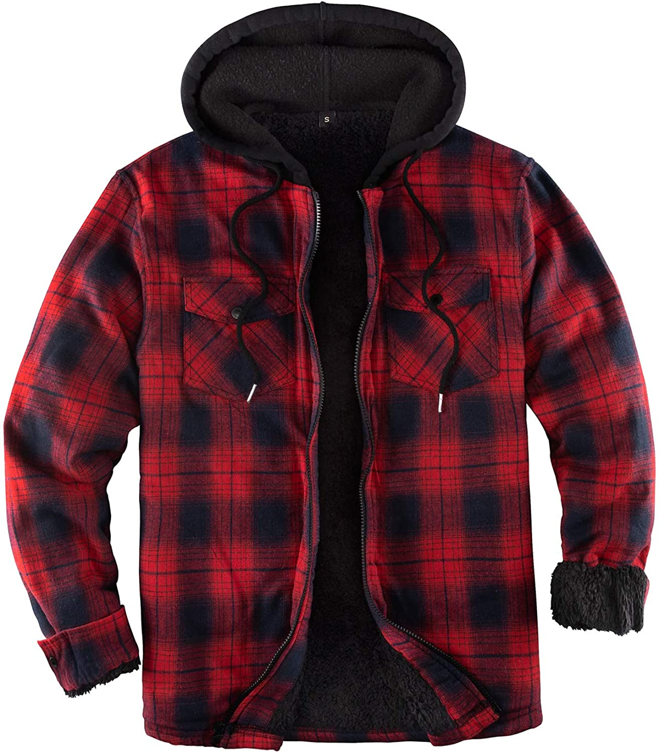 Now free shipping ZENTHACE Men's Sherpa Lined Full Super popular specialty store Zip Hooded Shirt Plaid Jacket