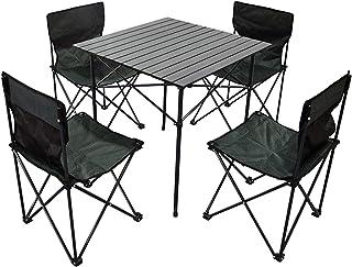 VeroMan アルミ アウトドア テーブル チェア 折りたたみ式 収納バッグ付き キャンプ ピクニック 釣り BBQ 5点セット