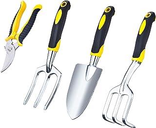 VILIVIT Gel Grip Garden Tools Kit 4 Piece - Gardening Tool Sets with Aluminum Heads - Trowel Cultivator Pruner and Weeding
