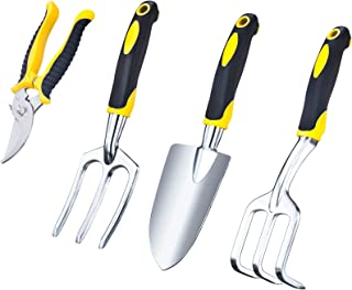VILIVIT Gel Grip Garden Tools – 4 Piece Plant Care Gardening Hand Tool Sets with Aluminum Heads Ergonomic Handles - Trowel Cultivator Pruner and Weeding Fork Kit
