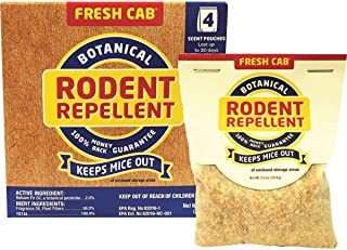EarthKind EMW7208598 Fresh Cab Rodent, Rats and Mice Repellent With Blend Of Plant Fiber and Botanical Extracts For Use On The Farm, Industrial Settings, Garage or RV, 2.5 Ounce x 4 Scent Pouches