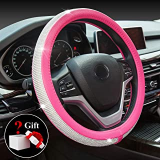 New Diamond Leather Steering Wheel Cover with Bling Bling Crystal Rhinestones, Universal Fit 15 Inch Anti-Slip Wheel Protector for Women Girls,Rose Red