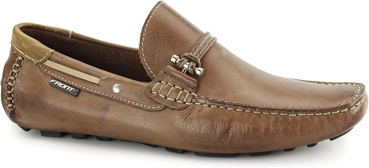 Front EMERSON Mens Leather Penny Driving Loafers Brown