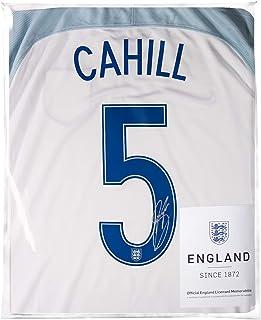 Icons.com Gary Cahill Official England Back Signed 2016-17 Home Shirt: Number 5