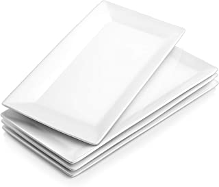 DOWAN 12 Inches Porcelain Serving Platters, Dinner Plate Set, Set of 4, White and Rectangular