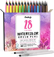 Watercolor Brush Pens | 28 Colors with 15-Sheet Watercolor Pad & 2 Blending Brush - Paint Markers for Painting, Coloring, ...