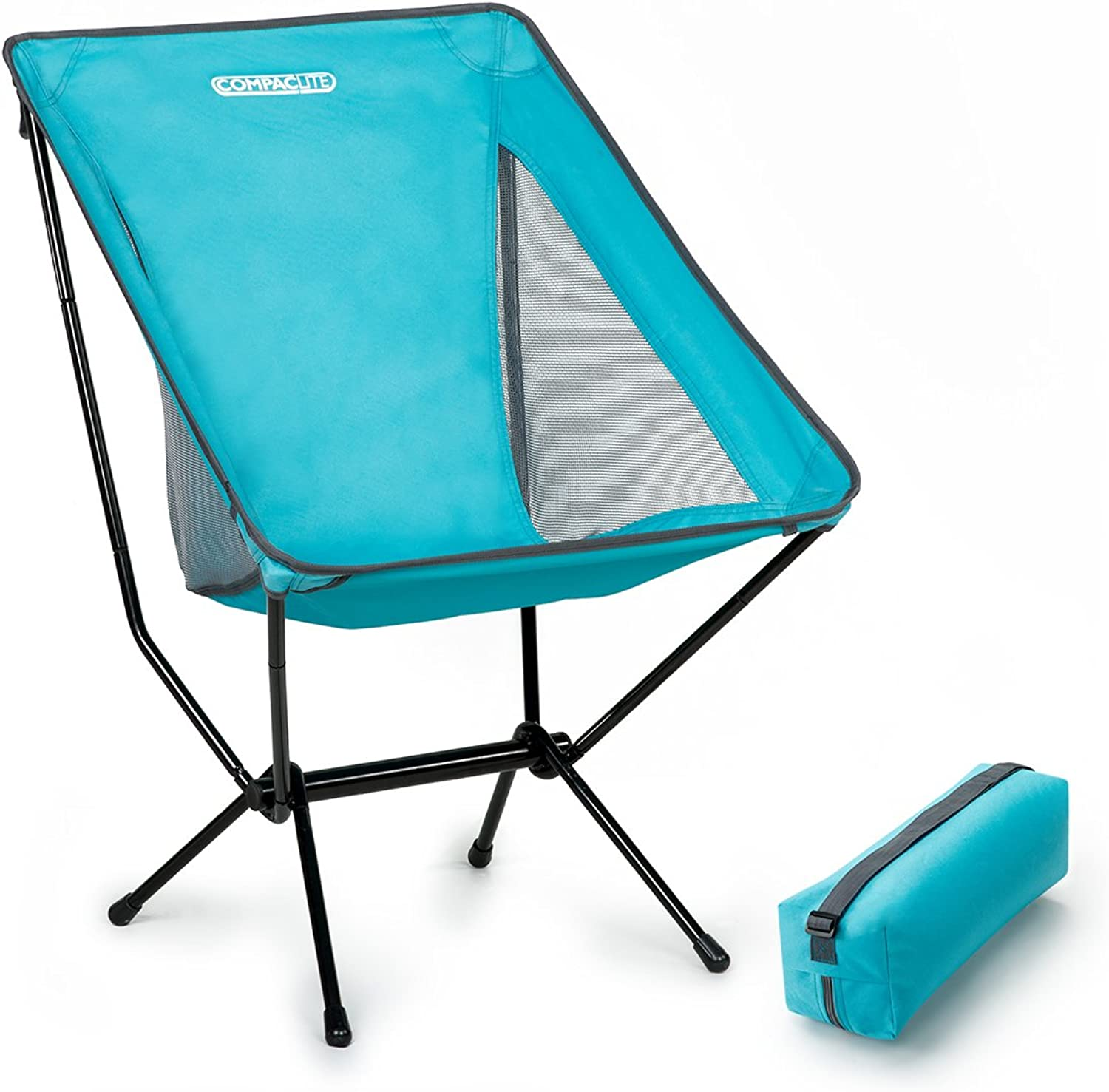 Compaclite Steel Camping Portable Chair with mesh Side Panels and Carry Bag, Deluxe - Bright bluee