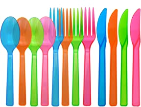 Party Essentials Hard Plastic Cutlery Combo Pack, 96 Pieces/32 Place Settings, Assorted Neon Brights