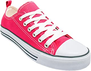 Kids Sneakers Tie up Slip on Canvas Shoes with Laces- Comfortable Cap Toe Shoes for Children - Girls Boys