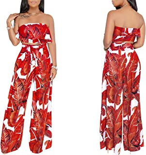 ece0ddfe16 YSJERA Women s 2 Pieces Floral Tube Top Long Palazzo Pants Jumpsuits