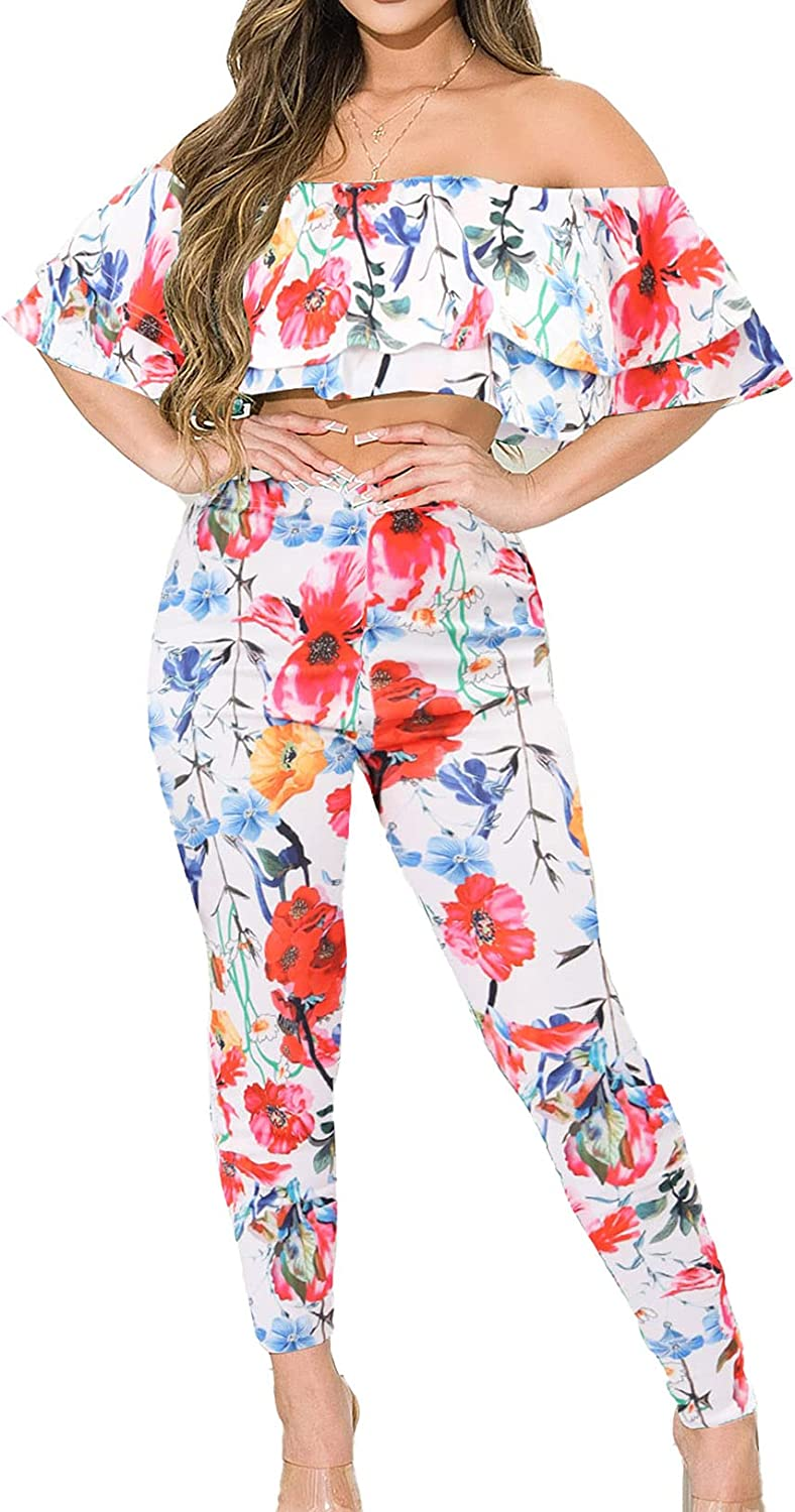 Salimdy Women's Elegant Two Piece Outfits Sexy Ruffled Off Shoulder Bodycon Long Pants Floral Jumpsuits