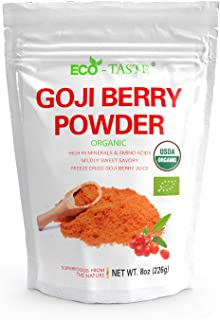 Organic Goji Berry Powder 8 Ounce, Freeze-Dried Superfood, Natural Antioxidants, Wolfberry Juice Powder