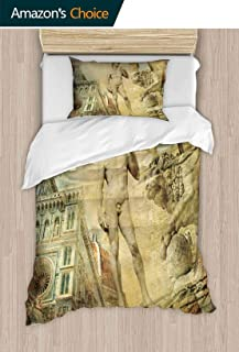 PRUNUSHOME Hotel Collection Soft Luxury Bed Sheets Breathable Beautiful Florence Artistic Collage Warm 2 Piece Set Twin