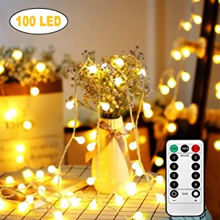 Battery Operated String Lights, 33Ft/10M 100 LED Outdoor Globe Fairy Lights 8 Modes Waterproof Ball String Light with Remote Control for Christmas Garden, Party, Wedding, Indoor, Bedroom and Patio