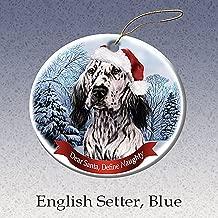 Holiday Pet Gifts English Setter, Blue Santa Hat Dog Porcelain Ornament