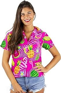 King Kameha Funky Hawaiian Shirt Blouse Women Shortsleeve Frontpocket Hawaiian-Print Melon Flamingo Fruits