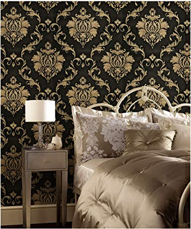 Dwind D1301 Peel Stick Luxury Victorian Damask Wallpaper Self Adhesive Wallpaper For Bedroom Furniture Easy To Clean Durable Waterproof Home 17 7 X 118 Inches Amazon Com