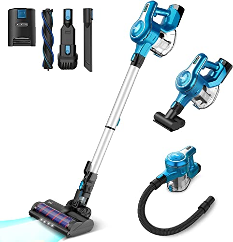 INSE S6 Cordless Vacuum Cleaner, 23Kpa Powerful Suction Stick Vacuum, Up to 45 Mins Max Runtime 2500mAh Rechargeable Battery, 10-in-1 Lightweight Handheld for Hard Floor Carpet Car Pet Hair