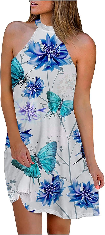 Oiumov Boho Dress for Women Casual Summer Halter Neck Butterfy Print Casual Mini Beachwear Dress Sundress Cover Up Dress