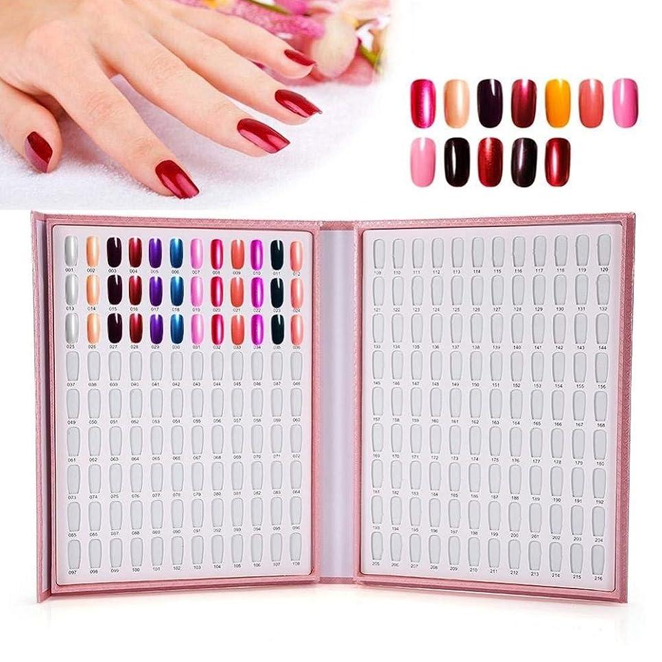 煙抑圧一致カラーチャート ブック - BESTGIFT ジェルネイル、カラーガイド、 ネイル 色見本、ブック型 、サンプル帳、216色 (ピンク)