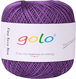 Crochet Thread Yarns for Begingers Size6-100% Contton Yarn for Knitting Crochet DIY Hardanger Cross Sitch Crochet Thread Balls Rainbow Turquoise 39 Colors Avilable (Violet)