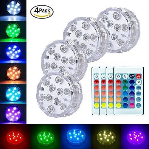 Lumières Paysage Coloré Décoratives Éclairage LED Étanche Lot de 4 lampes multicolores RGB submersibles avec télécommandes, idéal pour Aquarium Baignoire Piscine Jardin Milieu Aquatique
