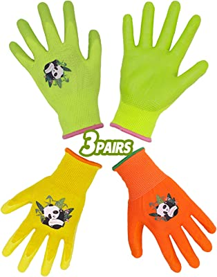 HANDLANDY Kids Gardening Gloves for Age 2-13 Latex Free, 3 Pairs Nitrile Coated Toddler Garden Gloves for Childrens Little Girls Boys Youth (Size 3(for age 5-6))