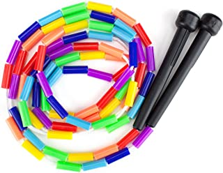 K-Roo Sports Rainbow Jump Rope with Plastic Beaded Segmentation, 7-Foot – Colorful,..