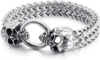 Men's Bracelet, Silver Charms, Men's Stainless Steel...