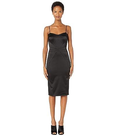 Zac Posen Stretch Satin Spaghetti Strap Fitted Cocktail Dress (Black) Women