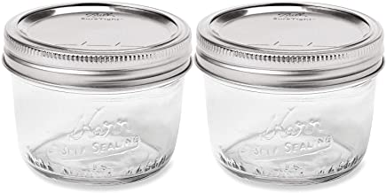 Kerr Wide Mouth Half-Pint Glass Mason Jars 8-Ounces with Lids and Bands (2-Pack)