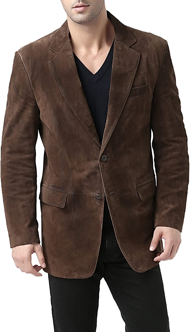 BGSD Men's Cliff Classic 2-Button Suede Leather Blazer (Regular, Big & Tall and Short)