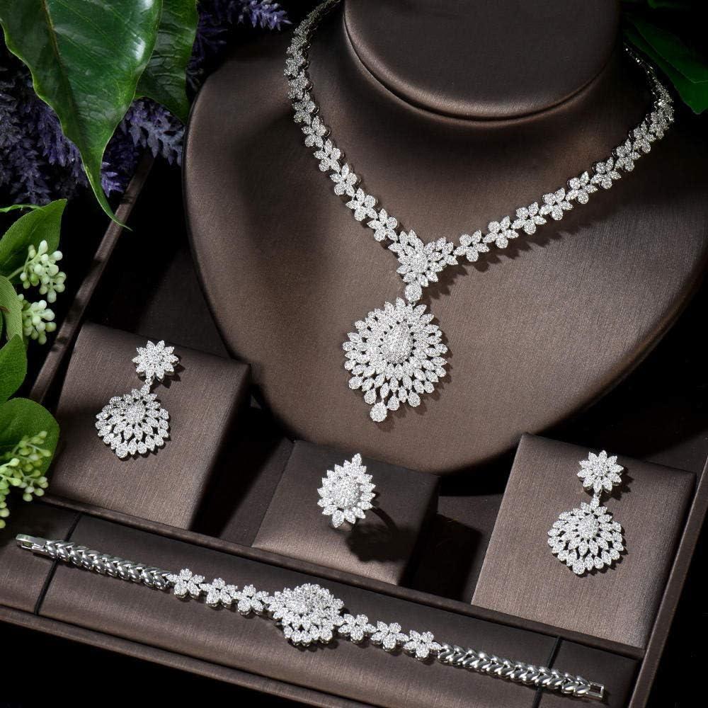 WJCRYPD Necklace Set 4 Pcs Vintage Elegant Cubic Zirconia Wedding Bridal Jewelry Set Gold Color Costume Accessories Jewelry Set SurongL (Color : Platinum Plated)
