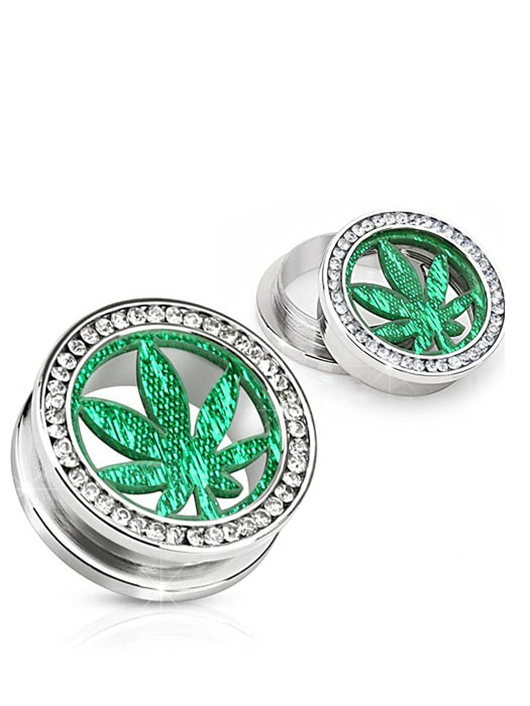 Green Marijuana Leaf Screw On Tunnel Plug (20 mm, 13/16 Inch) - 2 Piece