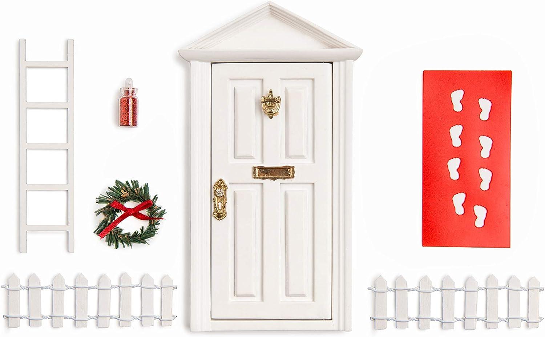 """White Wooden 7""""inch Miniature Door/ Enchanted Magical Fairy doors / Flower Fairies Secret Hidden Door for 3-8 yrs Child's Imagination : Patio, Lawn & Garden"""