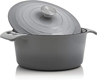 BBQ-Toro - Cocotte I 4,0 litros I Ø 24 cm I Olla con Tapa y Asas I Hierro Fundido esmaltado I Apto para lavavajillas e inducción I Color Gris