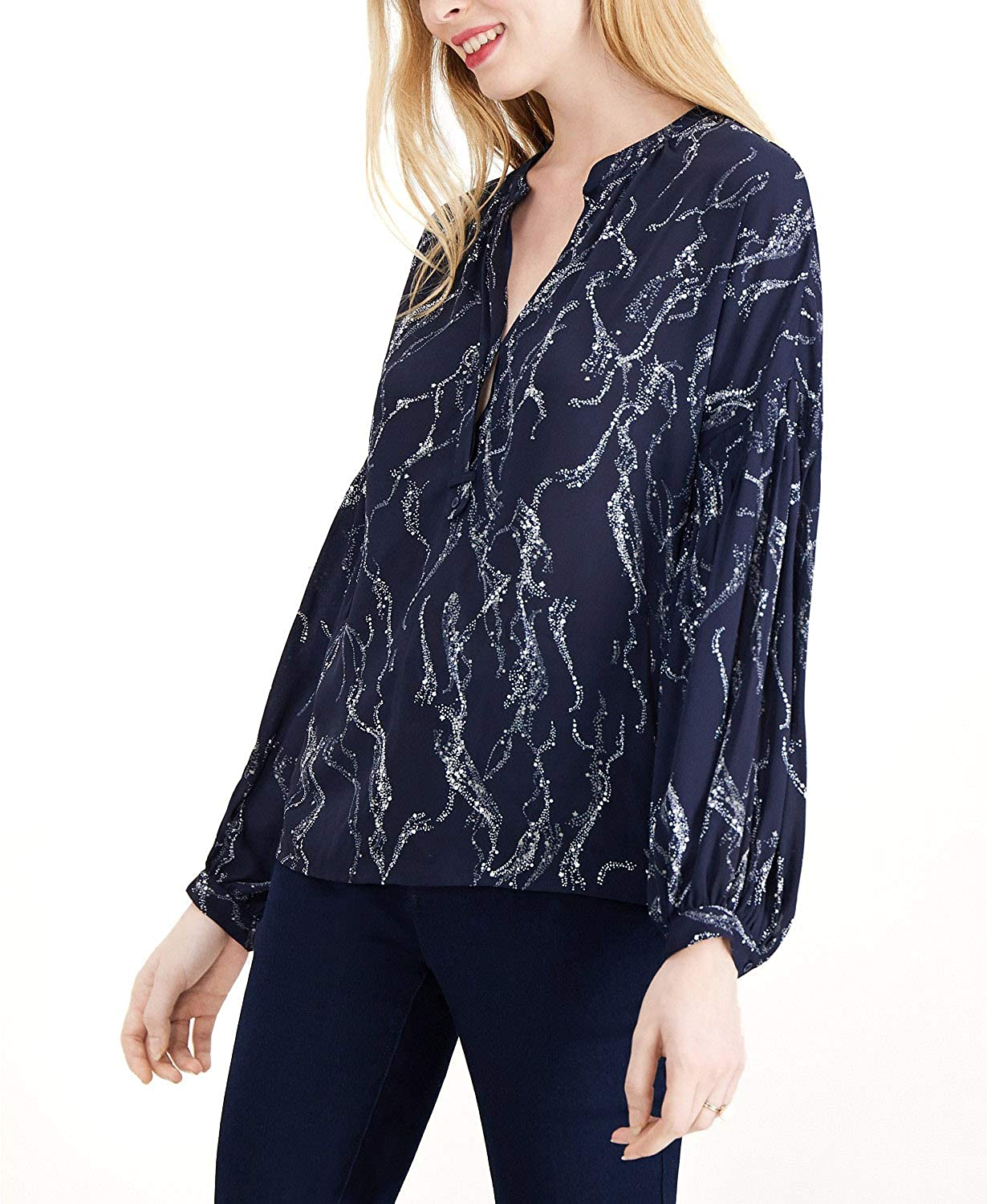 Maison Jules Womens Printed Top Button Down Blouse