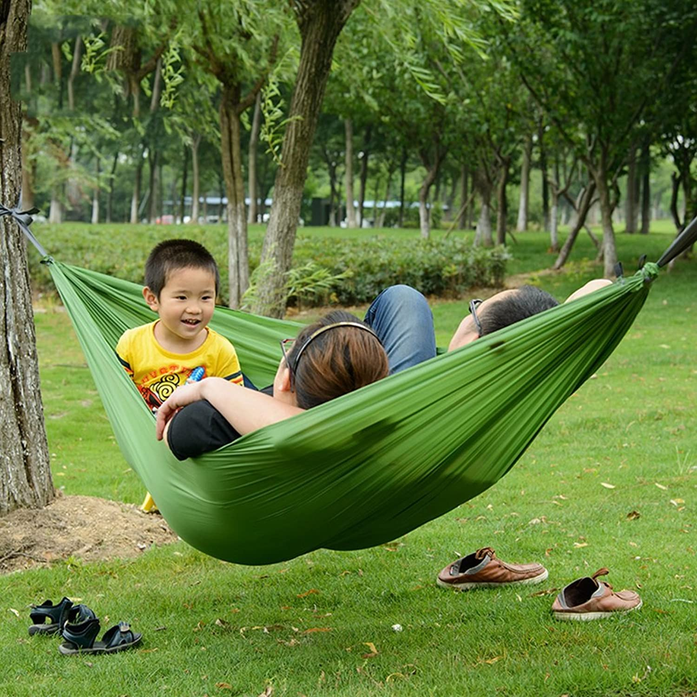 Hammocks Canvas Outdoor Leisure Hammock Portable Double seat 270  150CM (color   Green)