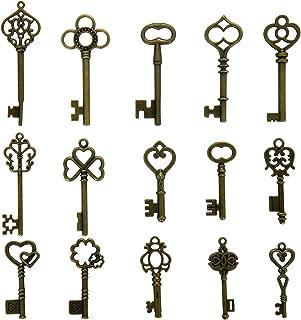 N'joy Vintage Skeleton Keys, Mixed Steampunk Keys (Antique Bronze, X30B-30PCS)