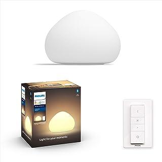 Philips Hue Wellner Lámpara de Mesa Inteligente LED con Bluetooth, Luz Blanca de Cálida a Fría, Compatible con Alexa y Google Home