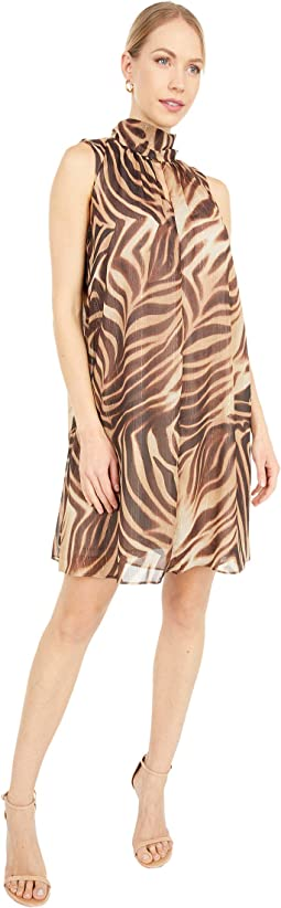 Abstract Tiger V-Neck Scarf Tent Dress
