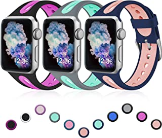henva band compatible with apple watch 38mm 40mm 42mm 44mm, replacement accessories breathable sicilone sport wristbands for iwatch series 5, series 4, series 3, series 2, series 1, s/m m/l