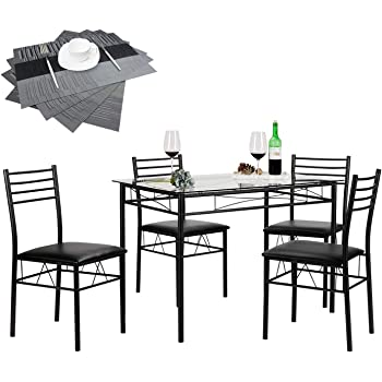 VECELO Dining Table with 4 Chairs [4 Placemats Included, Black